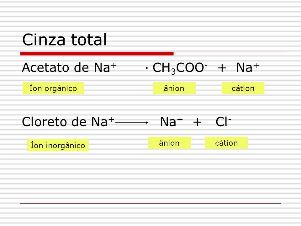 Cinza total Acetato de Na + CH 3 COO - + Na + Cloreto de Na + Na + + Cl - Íon orgânicoânioncátion Íon inorgânico ânioncátion