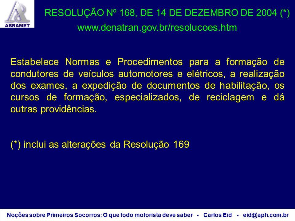 Noções sobre Primeiros Socorros: O que todo motorista deve saber - Carlos Eid - eid@aph.com.br RESOLUÇÃO Nº 168, DE 14 DE DEZEMBRO DE 2004 (*) Estabel