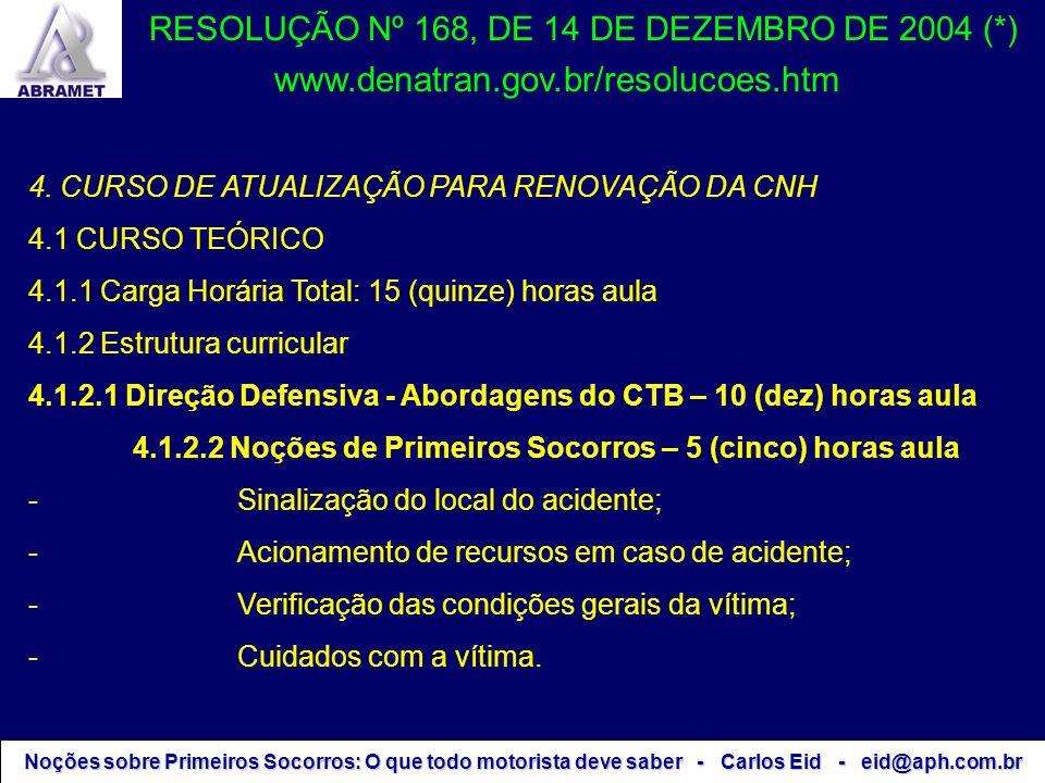 Noções sobre Primeiros Socorros: O que todo motorista deve saber - Carlos Eid - eid@aph.com.br RESOLUÇÃO Nº 168, DE 14 DE DEZEMBRO DE 2004 (*) 4. CURS