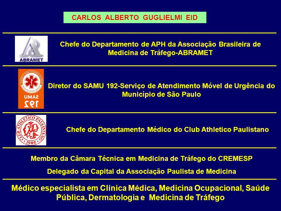 CARLOS ALBERTO GUGLIELMI EID Chefe do Departamento Médico do Club Athletico Paulistano Chefe do Departamento de APH da Associação Brasileira de Medici