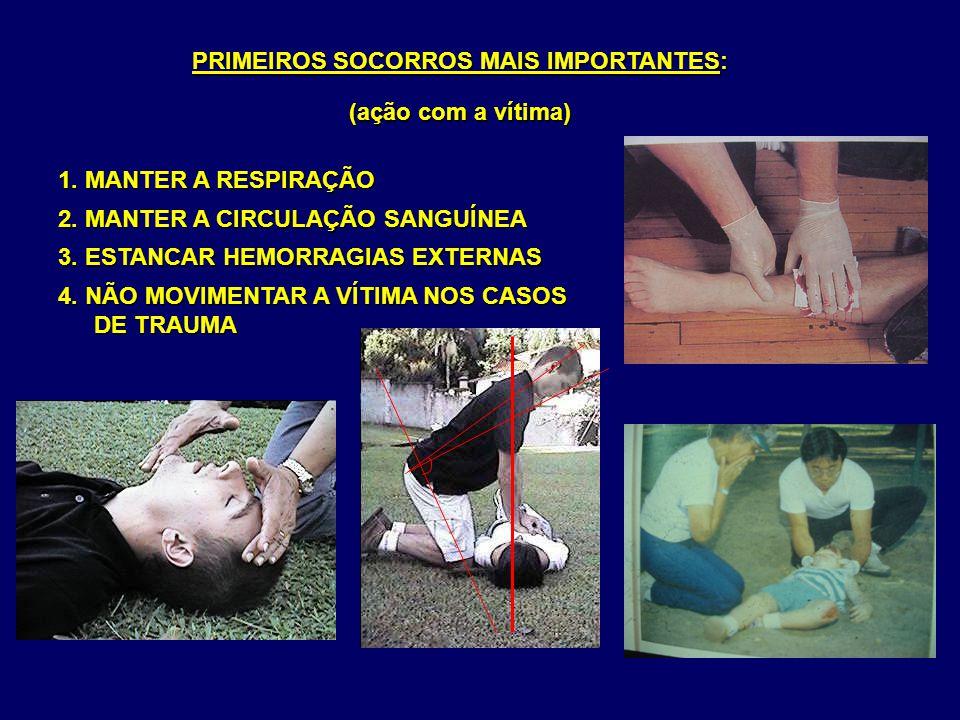 2. MANTER A CIRCULAÇÃO SANGUÍNEA PRIMEIROS SOCORROS MAIS IMPORTANTES: (ação com a vítima) 3. ESTANCAR HEMORRAGIAS EXTERNAS 4. NÃO MOVIMENTAR A VÍTIMA