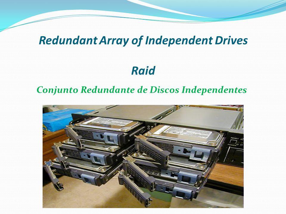 Redundant Array of Independent Drives Redundant Array of Independent Drives, mais conhecido como RAID ou em português: Conjunto Redundante de Discos Independentes, é um meio de se criar um sub-sistema de armazenamento composta por vários discos individuais, com a finalidade de ganhar segurança e desempenho.português discos Desenvolvida pela IBM em 1978, para melhorar a confiabilidade e segurança de sistemas através de redundância.IBM1978 Apesar do RAID oferecer segurança e confiabilidade na adição de redundância e evitar falhas dos discos, o RAID não protege contra falhas de energia ou erros de operação.