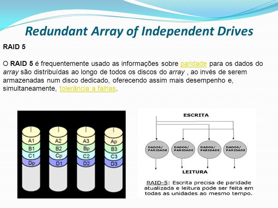 Redundant Array of Independent Drives RAID 5 O RAID 5 é frequentemente usado as informações sobre paridade para os dados do array são distribuídas ao