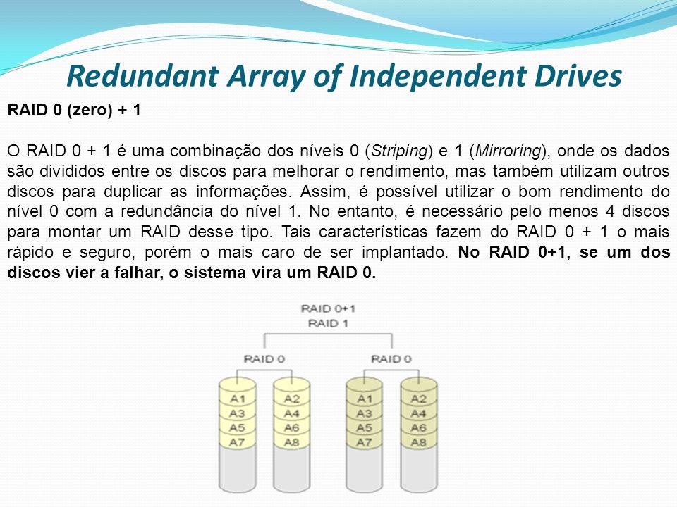 Redundant Array of Independent Drives RAID 0 (zero) + 1 O RAID 0 + 1 é uma combinação dos níveis 0 (Striping) e 1 (Mirroring), onde os dados são divid