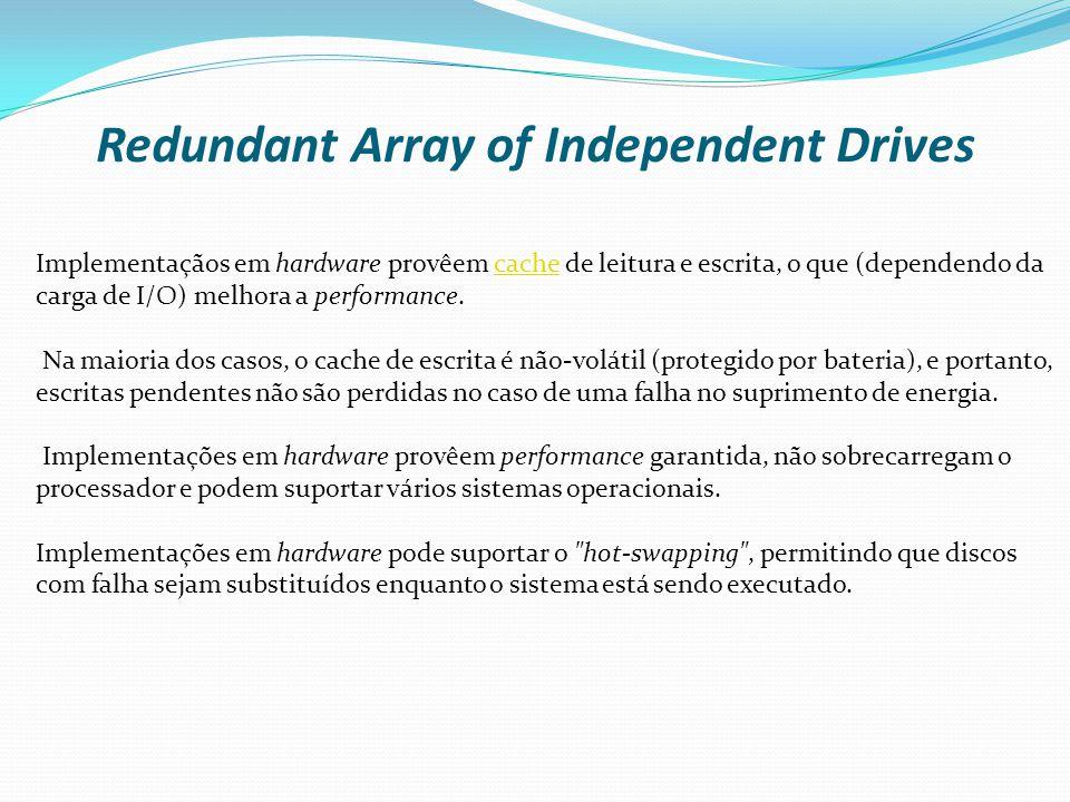 Redundant Array of Independent Drives Fake RAID ou RAID FALÇO A implementação via software geralmente não possui uma facil configuração.