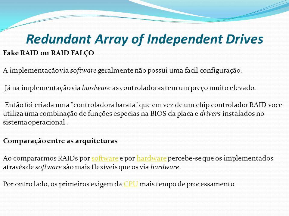 Redundant Array of Independent Drives Fake RAID ou RAID FALÇO A implementação via software geralmente não possui uma facil configuração. Já na impleme