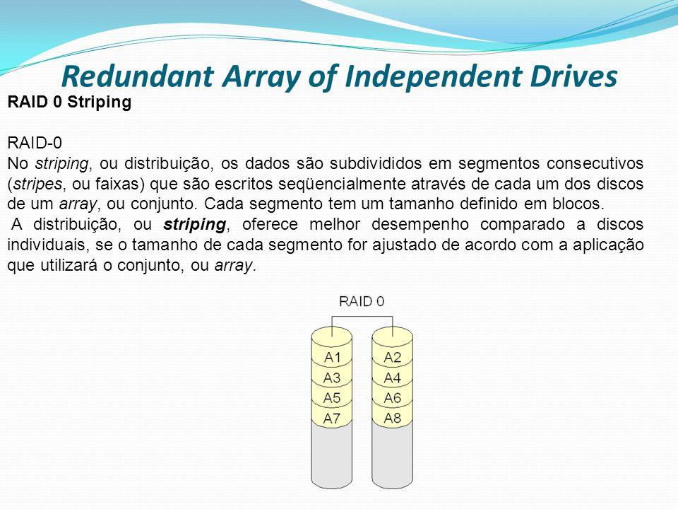 Redundant Array of Independent Drives RAID 0 Striping RAID-0 No striping, ou distribuição, os dados são subdivididos em segmentos consecutivos (stripe