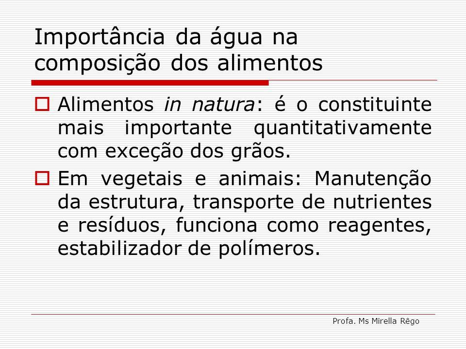 Profa. Ms Mirella Rêgo Importância da água na composição dos alimentos Alimentos in natura: é o constituinte mais importante quantitativamente com exc