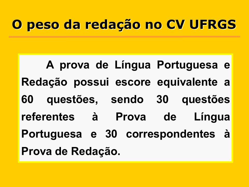 A prova de Língua Portuguesa e Redação possui escore equivalente a 60 questões, sendo 30 questões referentes à Prova de Língua Portuguesa e 30 correspondentes à Prova de Redação.