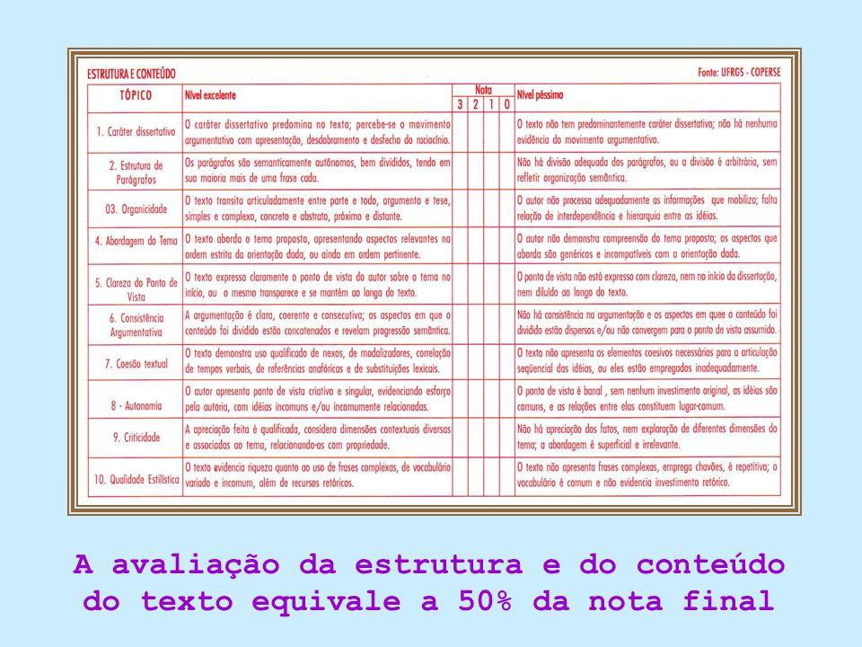 A avaliação da estrutura e do conteúdo do texto equivale a 50% da nota final