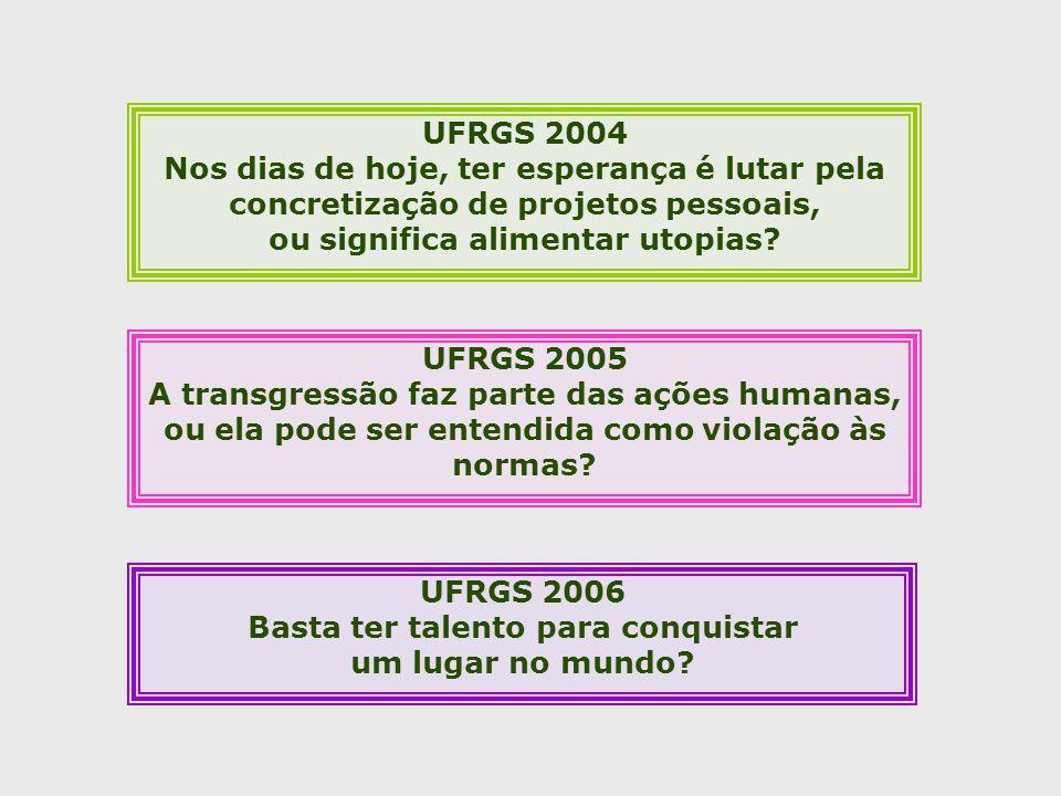 UFRGS 2005 A transgressão faz parte das ações humanas, ou ela pode ser entendida como violação às normas.
