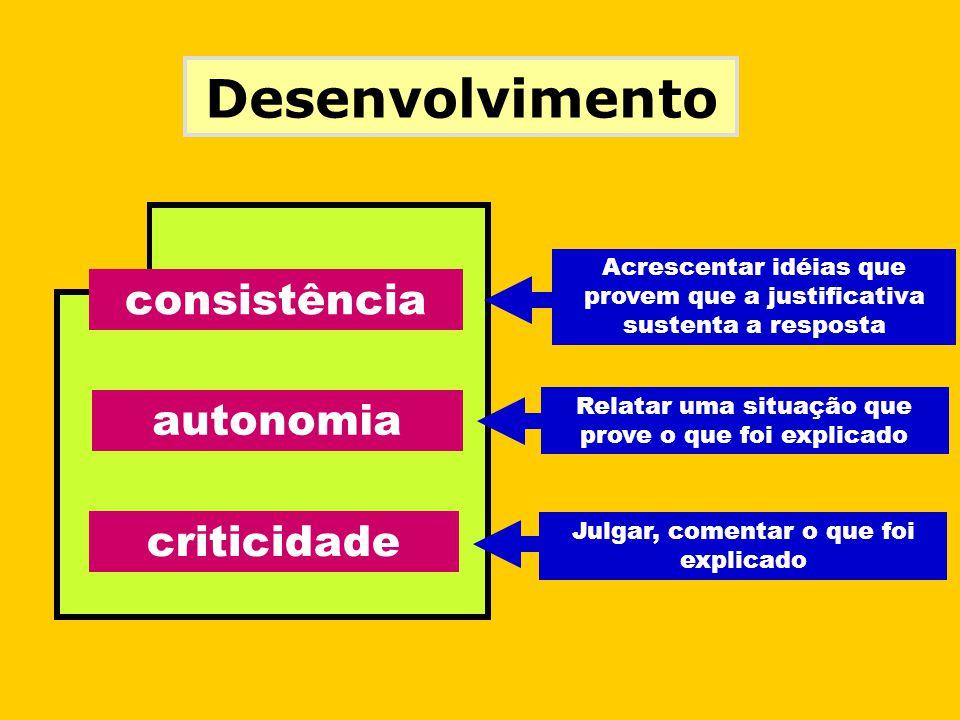 Desenvolvimento consistência Acrescentar idéias que provem que a justificativa sustenta a resposta autonomia Relatar uma situação que prove o que foi explicado criticidade Julgar, comentar o que foi explicado