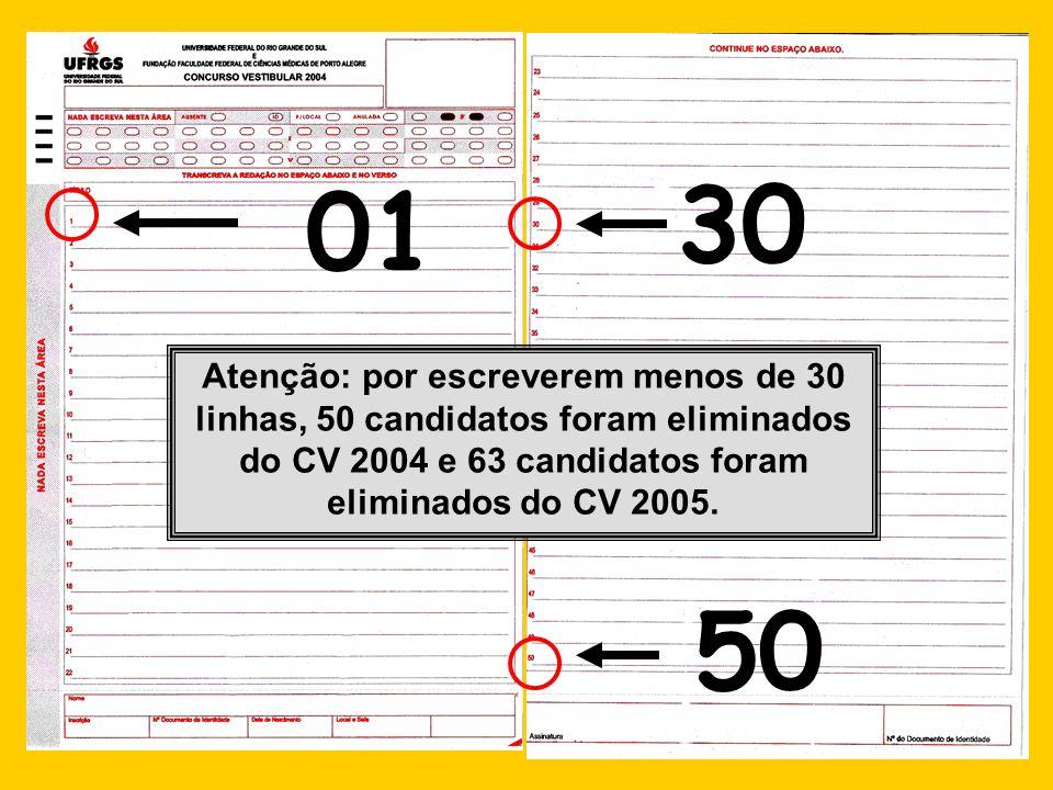 01 30 50 Atenção: por escreverem menos de 30 linhas, 50 candidatos foram eliminados do CV 2004 e 63 candidatos foram eliminados do CV 2005.