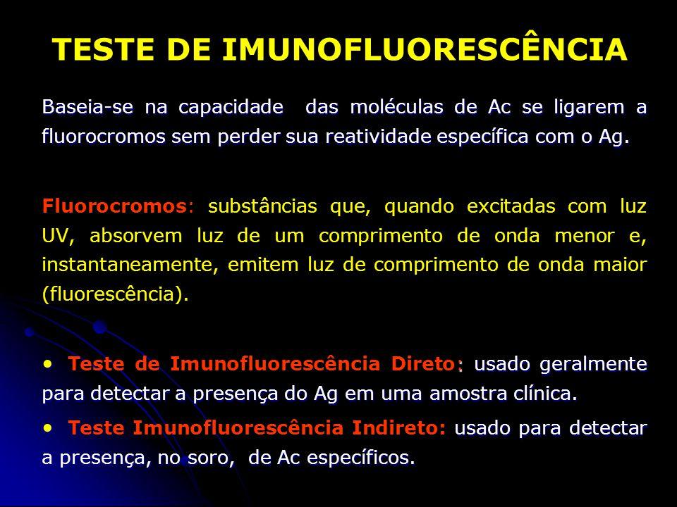 Baseia-se na capacidade das moléculas de Ac se ligarem a fluorocromos sem perder sua reatividade específica com o Ag. Fluorocromos: substâncias que, q