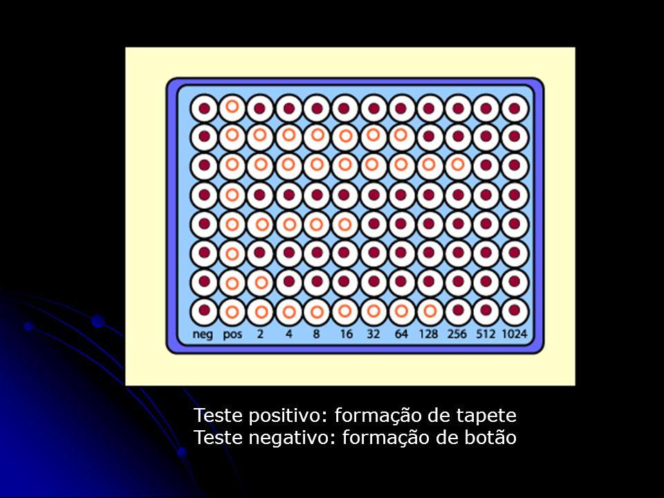 Teste positivo: formação de tapete Teste negativo: formação de botão