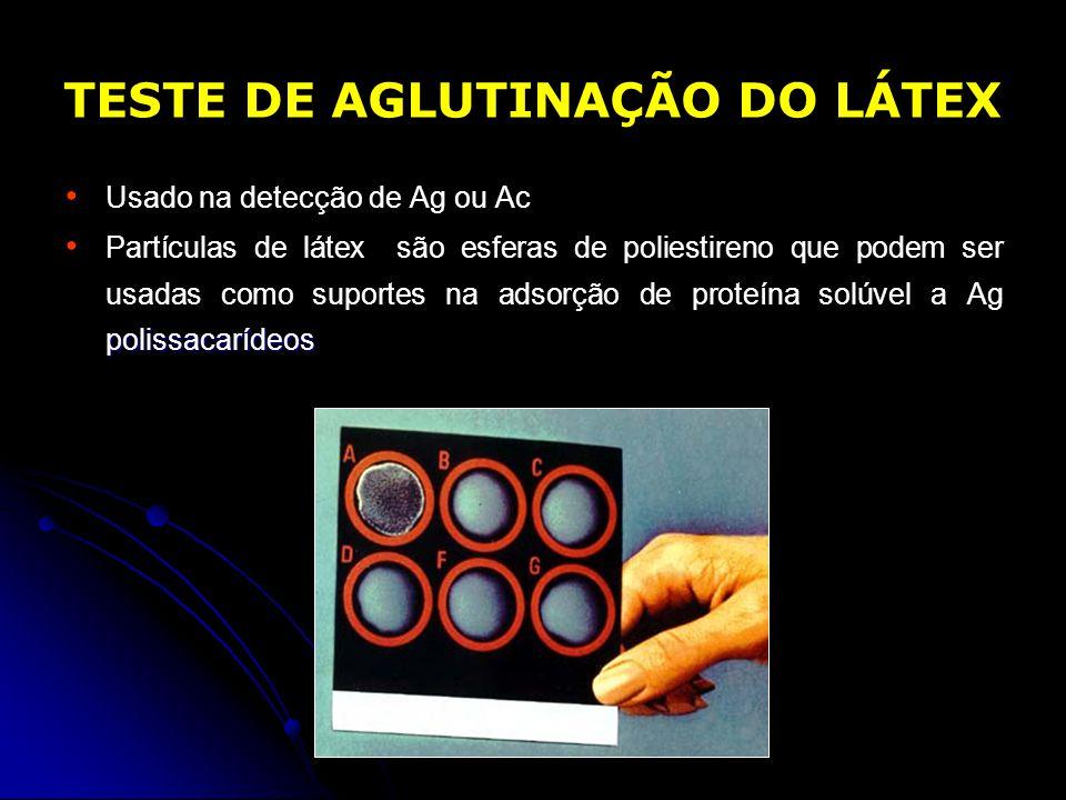 TESTE DE AGLUTINAÇÃO DO LÁTEX Usado na detecção de Ag ou Ac polissacarídeos Partículas de látex são esferas de poliestireno que podem ser usadas como
