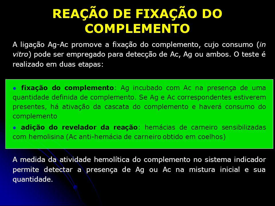 1. fixação do complemento2. revelação da reação