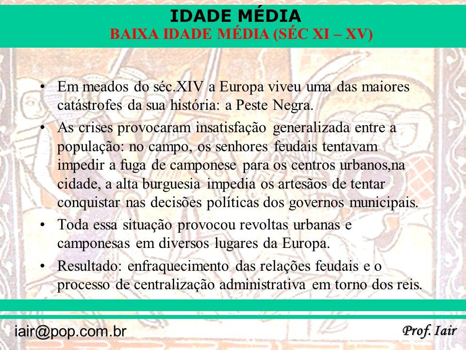 IDADE MÉDIA Prof. Iair iair@pop.com.br BAIXA IDADE MÉDIA (SÉC XI – XV) Em meados do séc.XIV a Europa viveu uma das maiores catástrofes da sua história