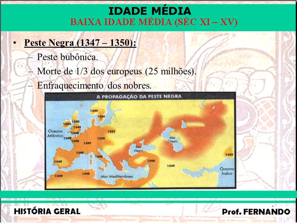 Peste Negra (1347 – 1350): –Peste bubônica. –Morte de 1/3 dos europeus (25 milhões). –Enfraquecimento dos nobres.
