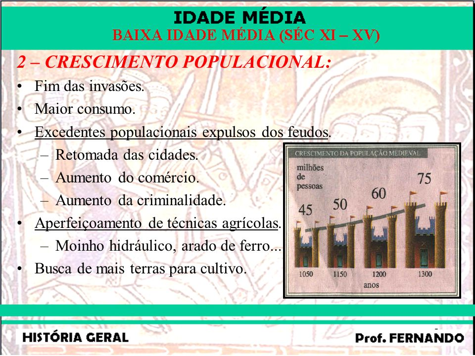 2 – CRESCIMENTO POPULACIONAL: Fim das invasões. Maior consumo. Excedentes populacionais expulsos dos feudos. –Retomada das cidades. –Aumento do comérc