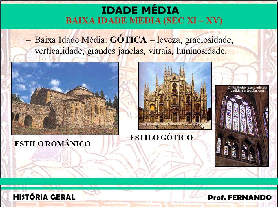 –Baixa Idade Média: GÓTICA – leveza, graciosidade, verticalidade, grandes janelas, vitrais, luminosidade.
