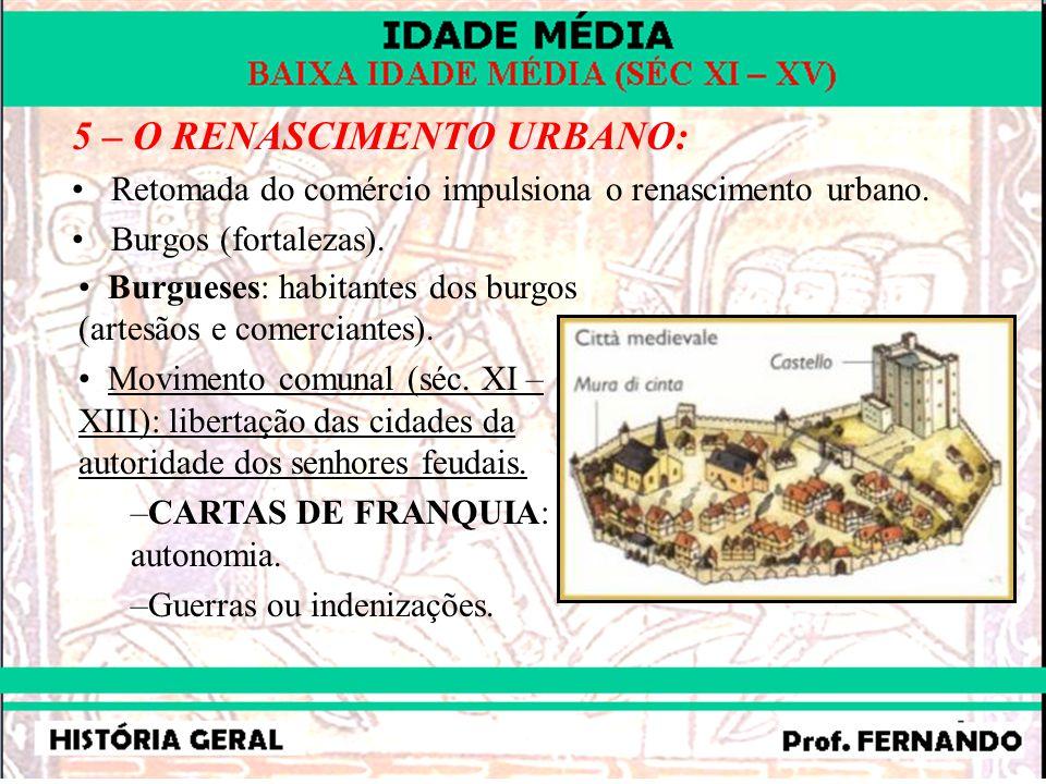 5 – O RENASCIMENTO URBANO: Retomada do comércio impulsiona o renascimento urbano. Burgos (fortalezas). Burgueses: habitantes dos burgos (artesãos e co
