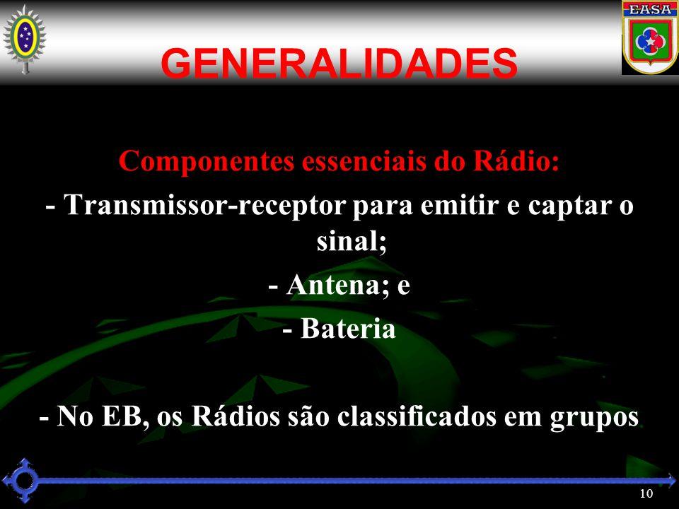 10 GENERALIDADES Componentes essenciais do Rádio: - Transmissor-receptor para emitir e captar o sinal; - Antena; e - Bateria - No EB, os Rádios são classificados em grupos