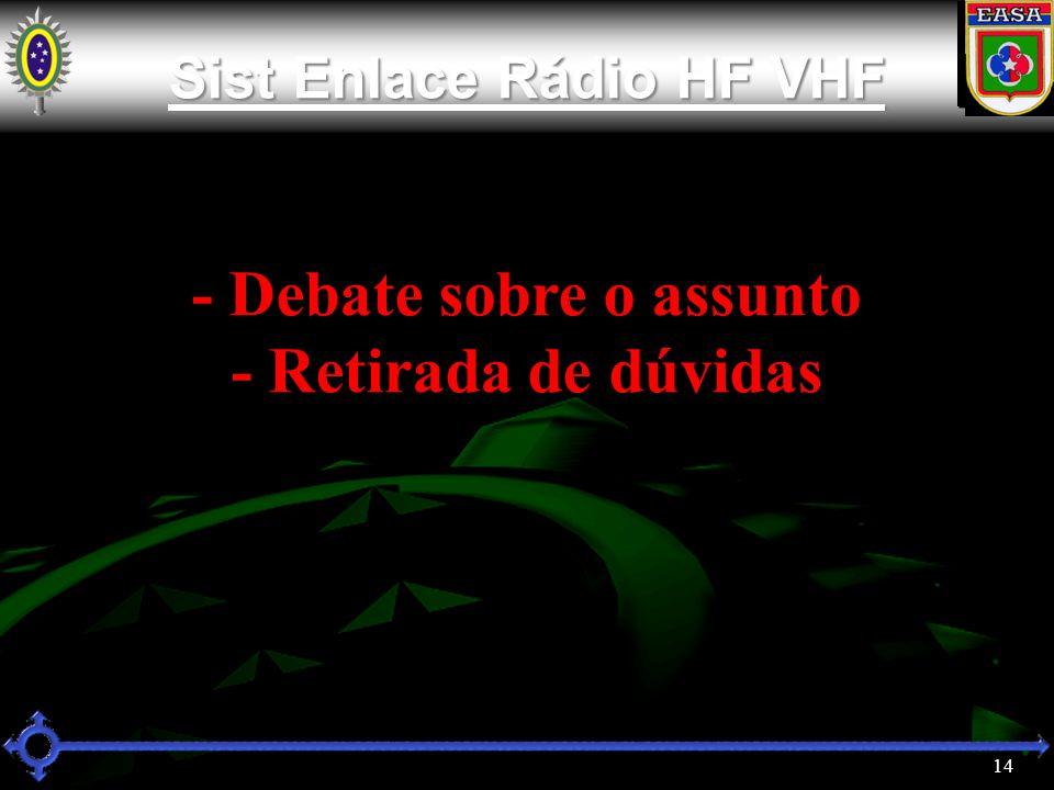 14 Sist Enlace Rádio HF VHF Sist Enlace Rádio HF VHF - Debate sobre o assunto - Retirada de dúvidas