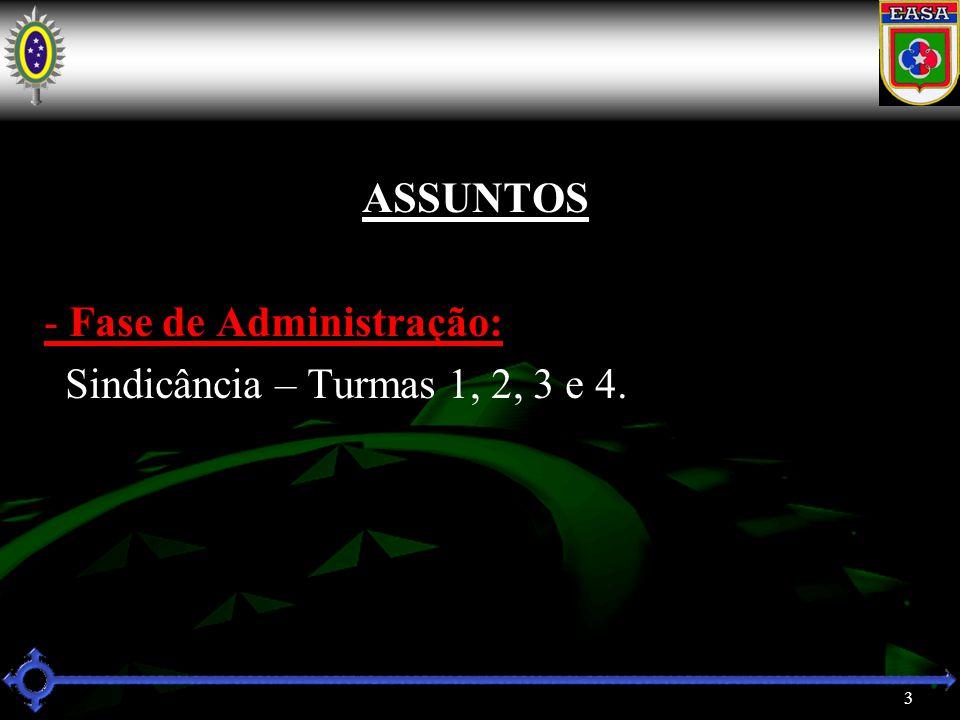 3 ASSUNTOS - Fase de Administração: Sindicância – Turmas 1, 2, 3 e 4.