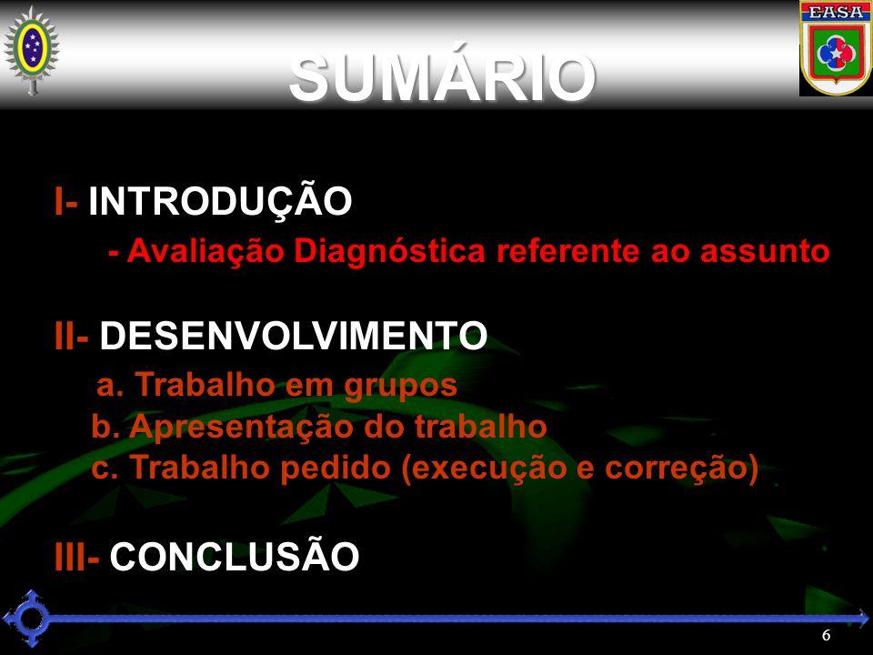 6 SUMÁRIO I- INTRODUÇÃO - Avaliação Diagnóstica referente ao assunto II- DESENVOLVIMENTO a.