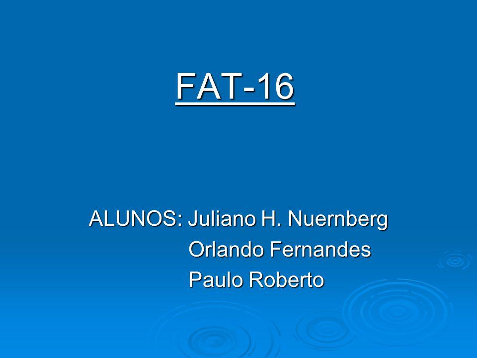 FAT-16 ALUNOS: Juliano H. Nuernberg Orlando Fernandes Orlando Fernandes Paulo Roberto Paulo Roberto