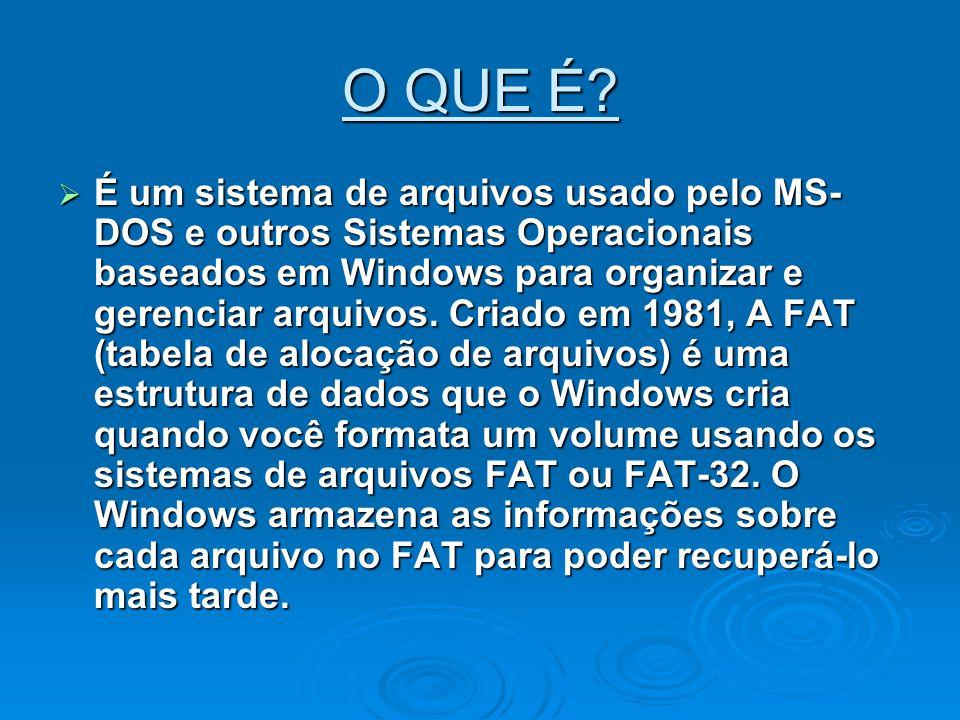 O QUE É? É um sistema de arquivos usado pelo MS- DOS e outros Sistemas Operacionais baseados em Windows para organizar e gerenciar arquivos. Criado em
