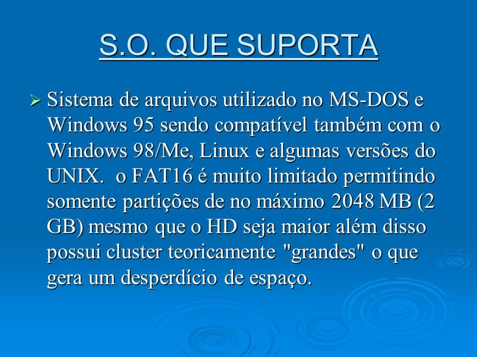 S.O. QUE SUPORTA Sistema de arquivos utilizado no MS-DOS e Windows 95 sendo compatível também com o Windows 98/Me, Linux e algumas versões do UNIX. o