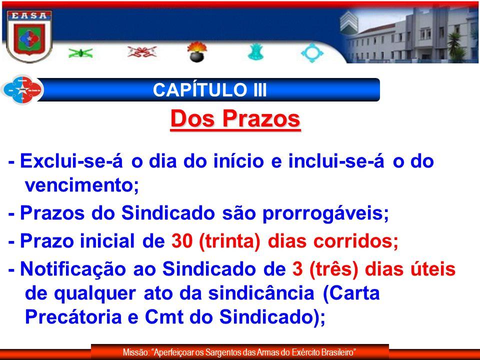 Missão: Aperfeiçoar os Sargentos das Armas do Exército Brasileiro CAPÍTULO III - Exclui-se-á o dia do início e inclui-se-á o do vencimento; - Prazos d