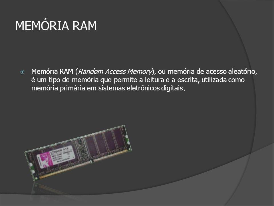 MEMÓRIA RAM. Memória RAM (Random Access Memory), ou memória de acesso aleatório, é um tipo de memória que permite a leitura e a escrita, utilizada com