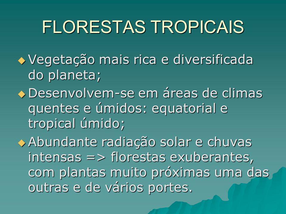 FLORESTAS TROPICAIS Vegetação mais rica e diversificada do planeta; Vegetação mais rica e diversificada do planeta; Desenvolvem-se em áreas de climas