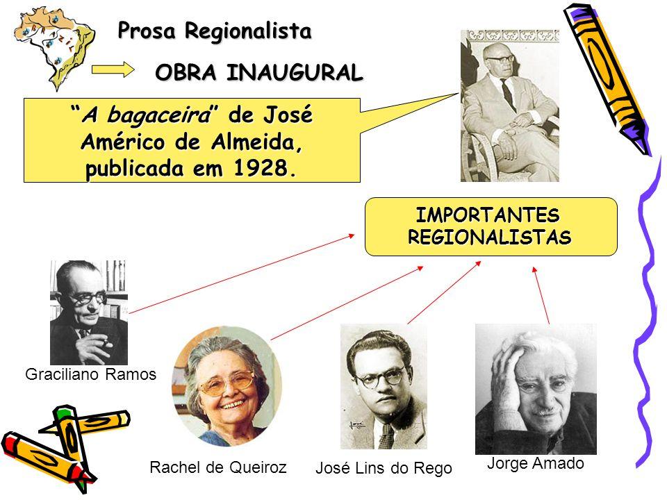 Prosa Regionalista OBRA INAUGURAL A bagaceira bagaceira de José Américo de Almeida, publicada em 1928. Rachel de Queiroz José Lins do Rego Jorge Amado