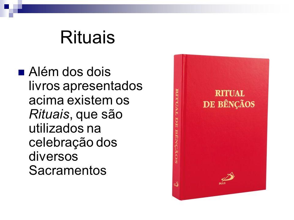 Rituais Além dos dois livros apresentados acima existem os Rituais, que são utilizados na celebração dos diversos Sacramentos