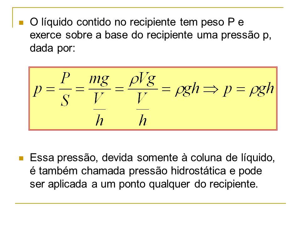 O líquido contido no recipiente tem peso P e exerce sobre a base do recipiente uma pressão p, dada por: Essa pressão, devida somente à coluna de líqui