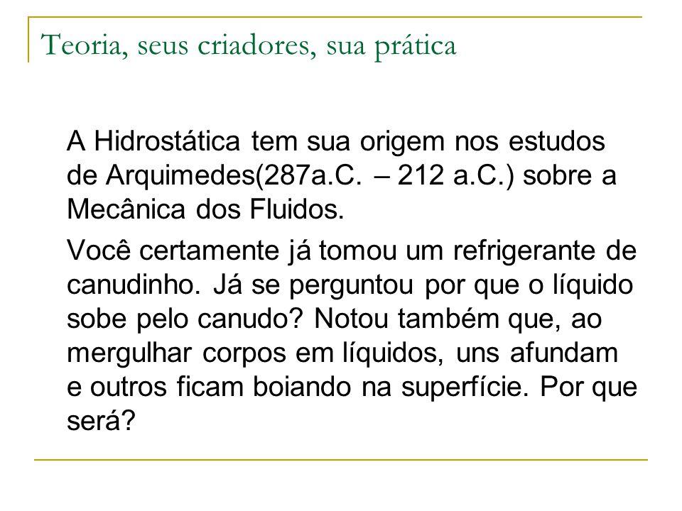 Teoria, seus criadores, sua prática A Hidrostática tem sua origem nos estudos de Arquimedes(287a.C. – 212 a.C.) sobre a Mecânica dos Fluidos. Você cer