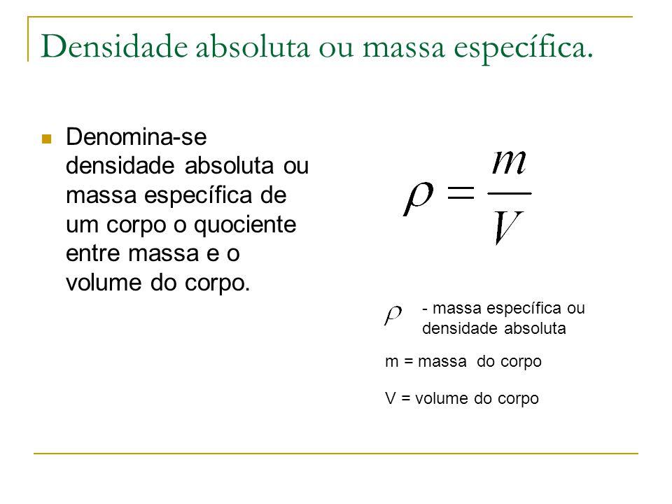 Densidade absoluta ou massa específica. Denomina-se densidade absoluta ou massa específica de um corpo o quociente entre massa e o volume do corpo. -