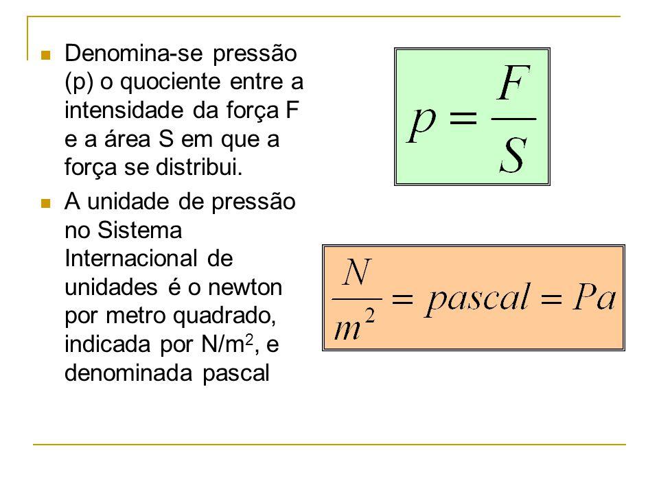 Denomina-se pressão (p) o quociente entre a intensidade da força F e a área S em que a força se distribui. A unidade de pressão no Sistema Internacion