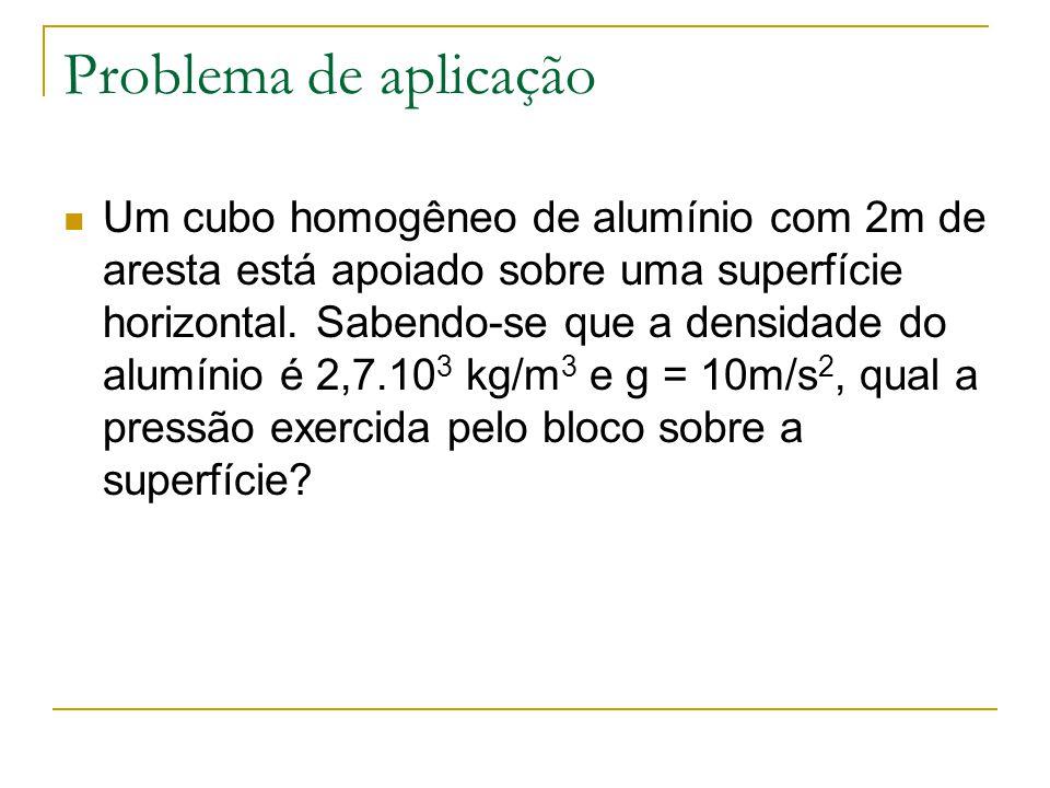 Problema de aplicação Um cubo homogêneo de alumínio com 2m de aresta está apoiado sobre uma superfície horizontal. Sabendo-se que a densidade do alumí