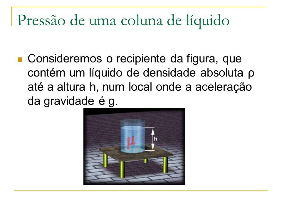 O líquido contido no recipiente tem peso P e exerce sobre a base do recipiente uma pressão p, dada por: Essa pressão, devida somente à coluna de líquido, é também chamada pressão hidrostática e pode ser aplicada a um ponto qualquer do recipiente.