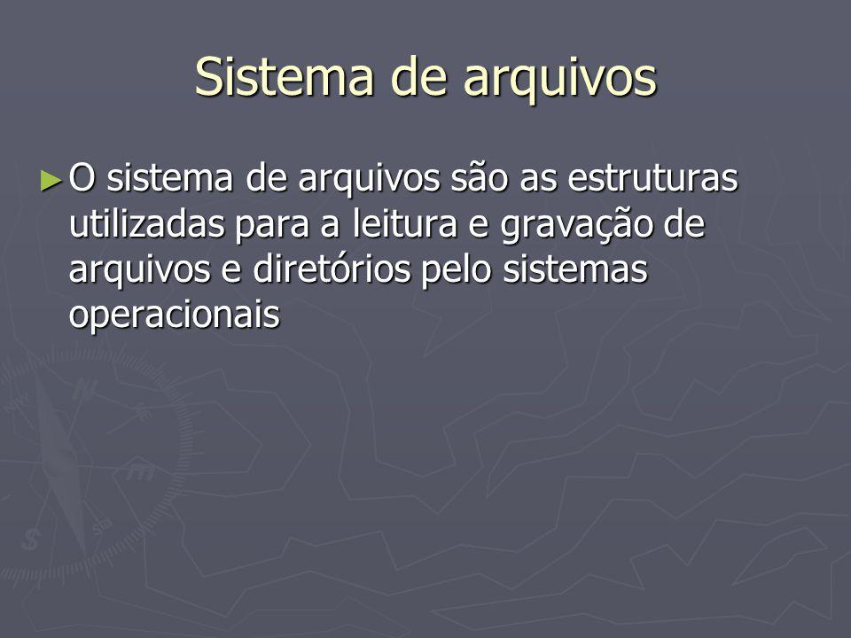Sistema de arquivos O sistema de arquivos são as estruturas utilizadas para a leitura e gravação de arquivos e diretórios pelo sistemas operacionais O