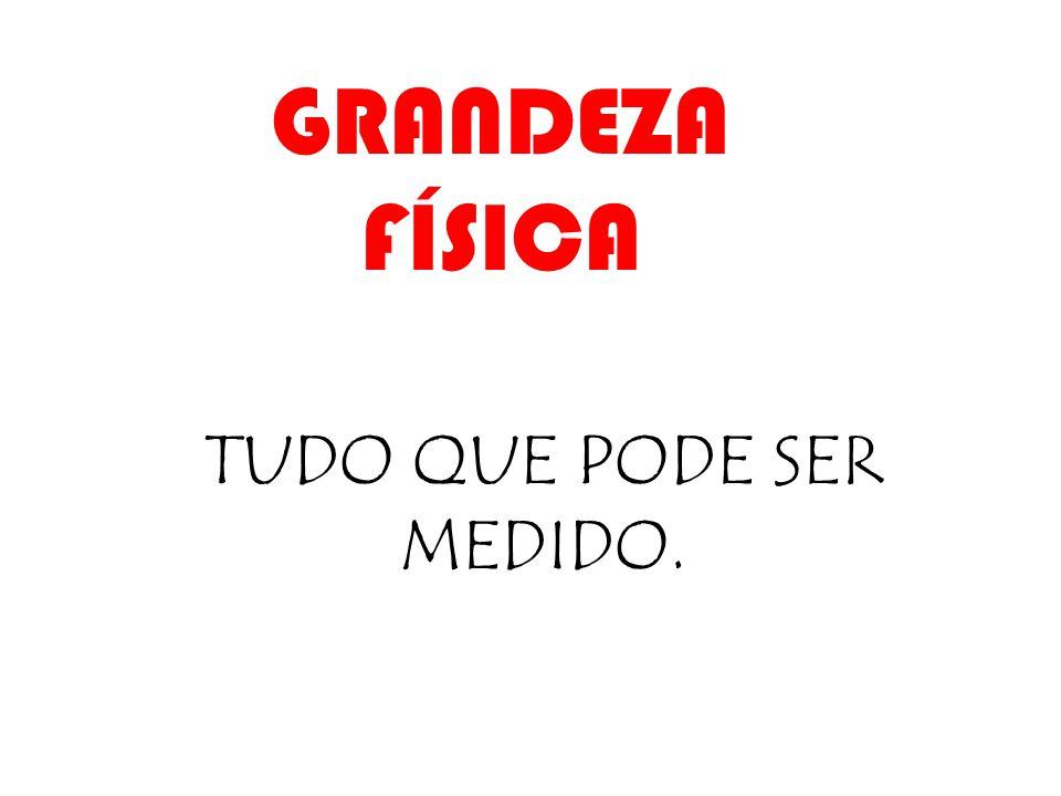GRANDEZA FÍSICA TUDO QUE PODE SER MEDIDO.