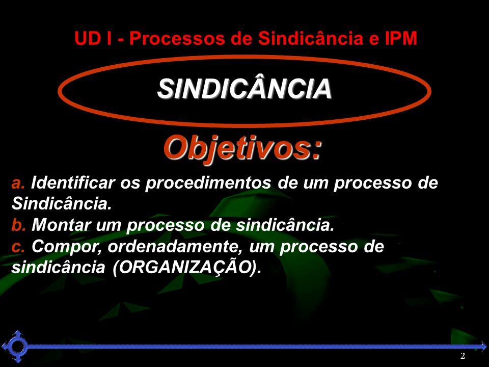 2 SINDICÂNCIA SINDICÂNCIA a. Identificar os procedimentos de um processo de Sindicância. b. Montar um processo de sindicância. c. Compor, ordenadament