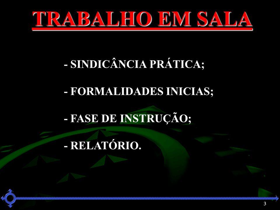 3 TRABALHO EM SALA - SINDICÂNCIA PRÁTICA; - FORMALIDADES INICIAS; - FASE DE INSTRUÇÃO; - RELATÓRIO.