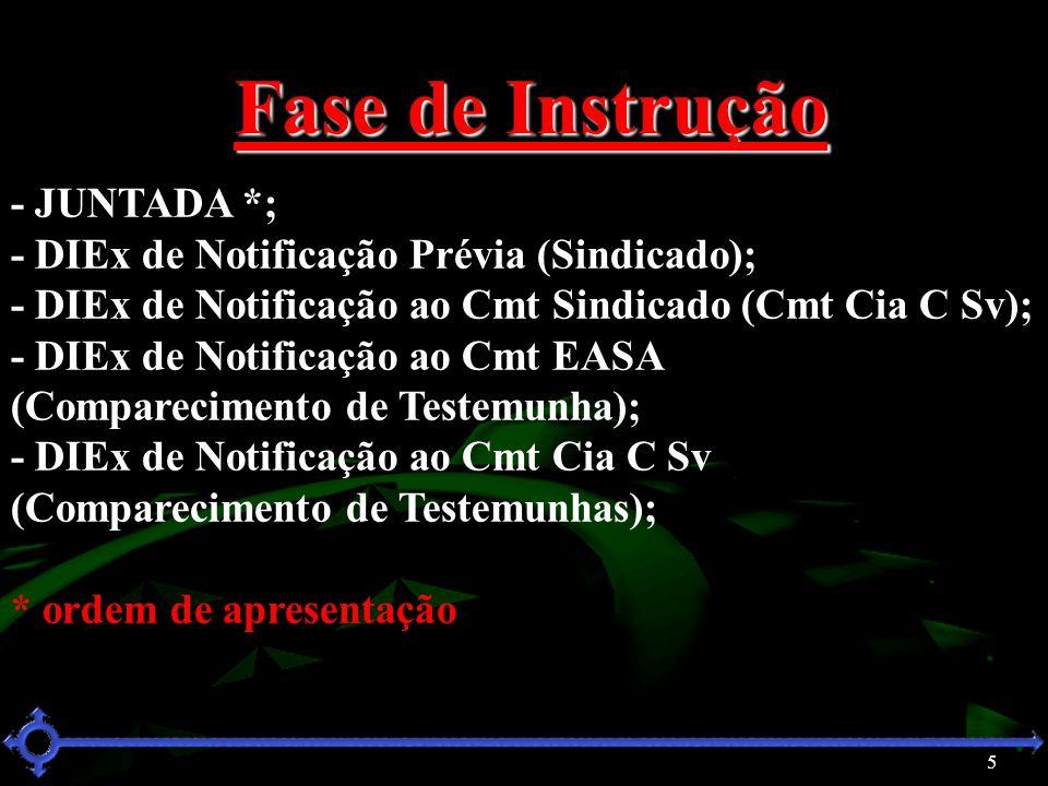 6 Fase de Instrução - Termo de Inquirição do Cmt Cia C Sv (Denunciante); - Termo de Inquirição do Sgt IVAIR (Testemunha); - Termo de Inquirição do Sgt VILAMAIOR (Testemunha); - Termo de Inquirição do Sd MOURA (Sindicado); - Termo de Encerramento de Instrução; * ordem de apresentação