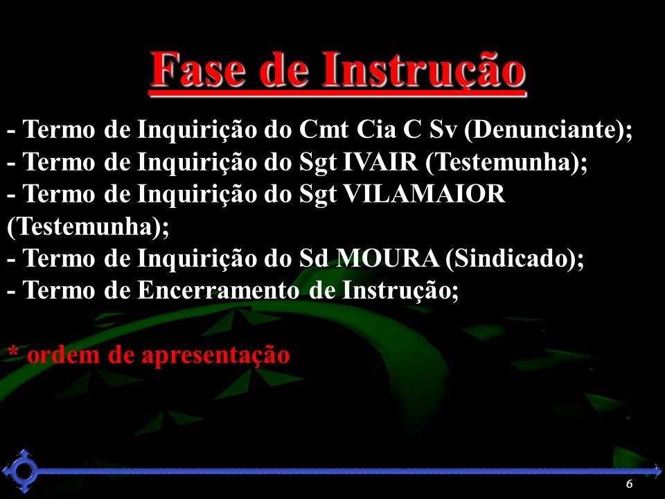 6 Fase de Instrução - Termo de Inquirição do Cmt Cia C Sv (Denunciante); - Termo de Inquirição do Sgt IVAIR (Testemunha); - Termo de Inquirição do Sgt